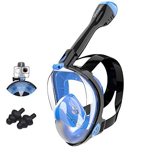 LEMEGO - Máscara de buceo, máscara completa con sistema de respiración novedoso, máscara de buceo de cara completa, 180°, panorámica, antivaho, resistente al agua, para adultos (azul, L)