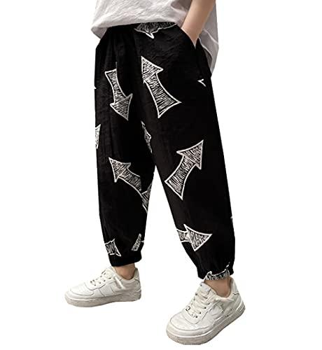 ZRFNFMA Ropa de los niños de verano de los niños de nueve puntos pantalones de sección delgada grandes de estilo de los niños pantalones casuales de los niños negro-165cm