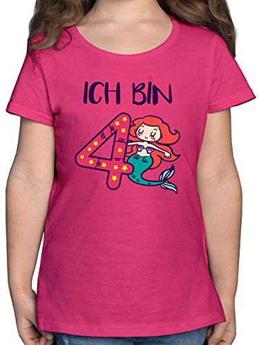 Geburtstag Kind - Ich Bin 4 Meerjungfrau - 104 (3/4 Jahre) - Fuchsia - 4. Geburtstag - F131K - Mädchen Kinder T-Shirt