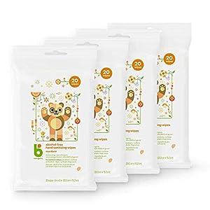 Babyganics Alcohol-Free Hand Sanitizer Wipes, Mandarin, 20 ct, 4 Pack, Packaging May Vary