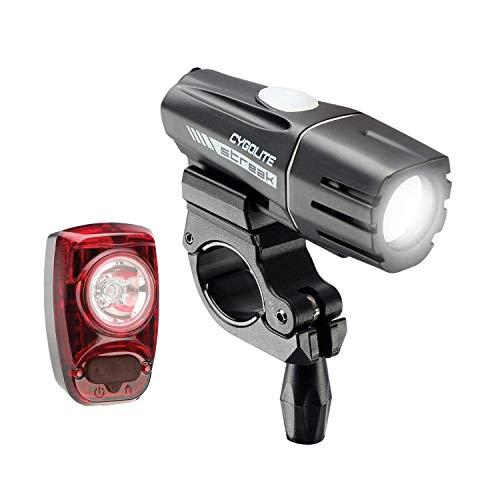 CYGOLITE Streak 450 Lumen Faro Delantero y Hotshot SL 50 Lumen luz Trasera USB Recargable para Bicicleta