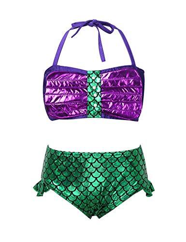 Choomomo Kids Girls 3Pcs Mermaid Tail Swimsuit Bikini Swimwear Halter Tops with Bottoms Fishtail Skirt Set Swimming Costume Green&Purple 7-8 Years