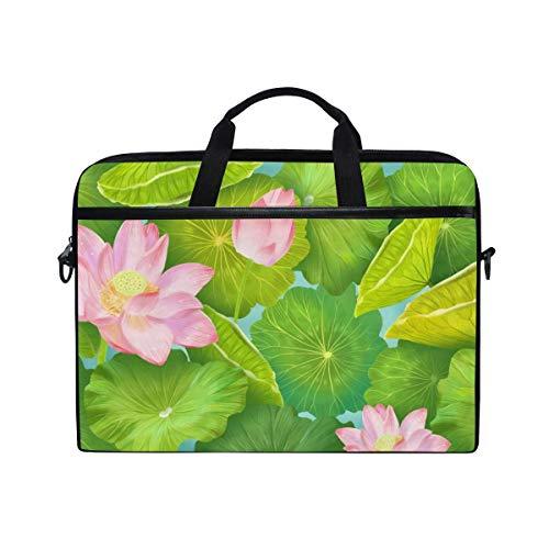Laptop Sleeve Case,Laptop Bag,Lotus Flower Green Leaf Water Briefcase Messenger Notebook Computer Bag with Shoulder Strap Handle,29×40 CM/15.6 Inch