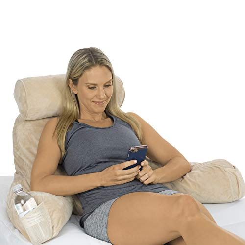 Xtra-Comfort Reading Pillow - Memory Foam Cushion - Neck Roll, Back Lumbar, Arm Support Bed Backrest For Tv, Sit Up Gaming, Pregnancy, Kids - Firm Couch Lounge Wedge includes Armrest Pockets and Cover