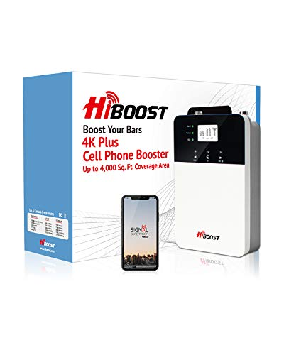 HiBoost Cell Phone Signal Booster for Home and Office with Built-in Antenna Signal Repeater with LCD and App Control Supports All US Carriers Boosts Voice and Data Signal for Remote Area