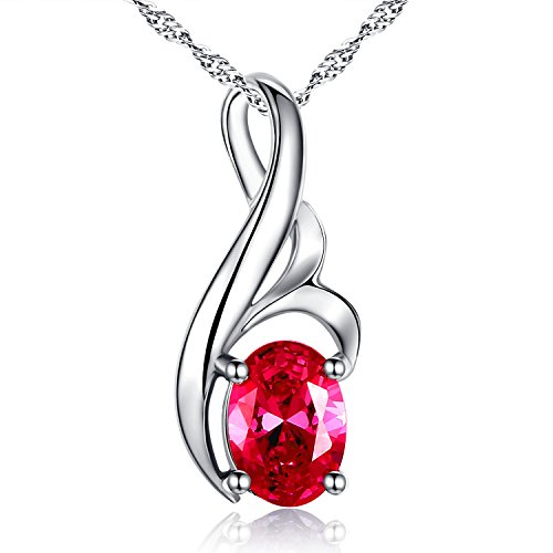 MABELLA Simulated Ruby Red July Birthstone Sterling Silver Pendant Gemstone Necklace, Gifts for Women