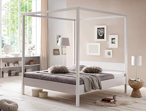 expendio Himmelbett Sabri Kernbuche weiß Größe nach Wahl Massivholzbett Doppelbett Ehebett Singlebett Bett Schlafzimmer, Liegefläche:180 x 200 cm