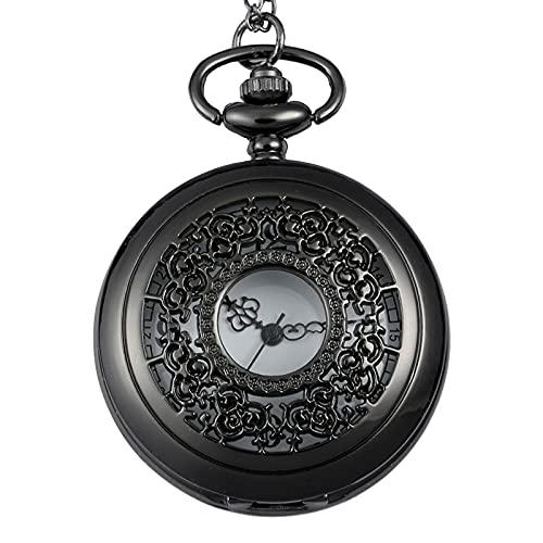 XGJJ Reloj de bolsillo negro para hombre, grande, hueco, creativo, de moda, números arábigos, metal, moderno, minimalista, reloj de bolsillo