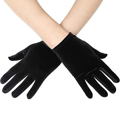 BABEYOND Short Opera Vlvet Gloves Wrist Banquet Gloves Tea Party Dancing Gloves Special Occasion Gloves for Women (Black)