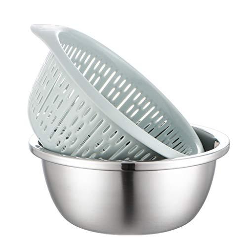 Roestvrij stalen mengkom en wassen rijst wasmachine zeef set/kookpot, kruiden tank, soeppot, wastafel multi-purpose pak