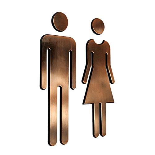 Tocone Acrilico WC Segno Targa Toilette Bagno Porta Targhetta Adesiva Segnaletica Simbolo Uomo e Donna Decorazione Domestica (Bronzo)