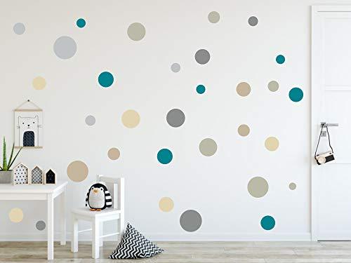 timalo® 73078 -Pegatinas murales, en diseño de puntos circulares, ideales para decorar una habitación infantil, en colores pastel, 120 unidades, Set4., 120 Stück