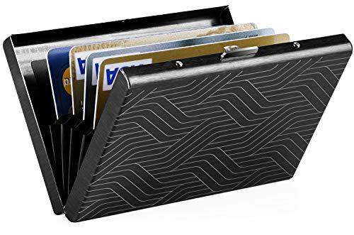 MaxGear RFID Credit Card Holder Protector Metal Credit Card Case Wallet for Women Men Plating Line Geometric
