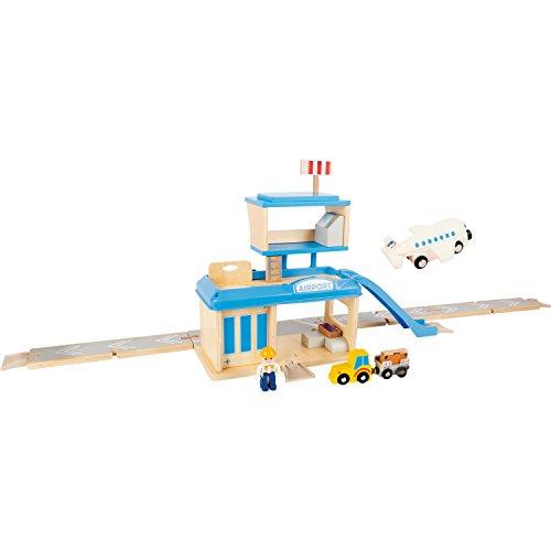 Small Foot World-pequeño pie 10893 Aeropuerto con Accesorios de Madera, con avión, Coche, Remolque, Terminal etc, a Partir de 3 años (Small Foot by Legler