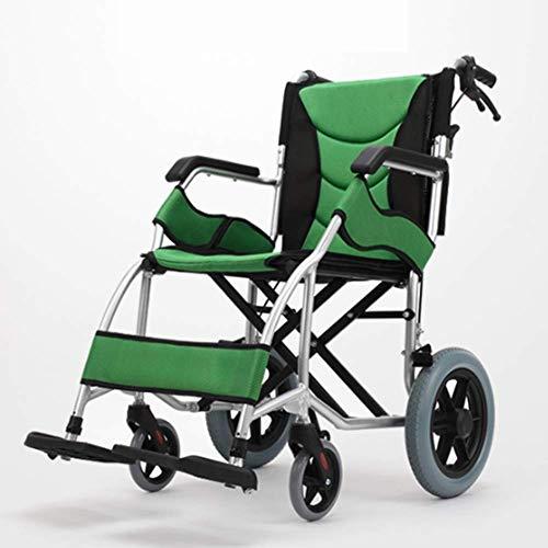 PAP Multi-Functionele Luchtvaart Titanium Legering Lichtgewicht Vouwen Handleiding Rolstoel, Ultra-Licht Draagbare Ouderen Travel Cart, groen, a