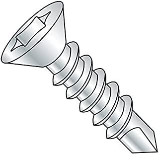 Square Drive Steel Self-Drilling Screw #8-18 Thread Size Zinc Plated Finish #2 Drill Point Flat Trim Head Pack of 50 1-1//2 Length