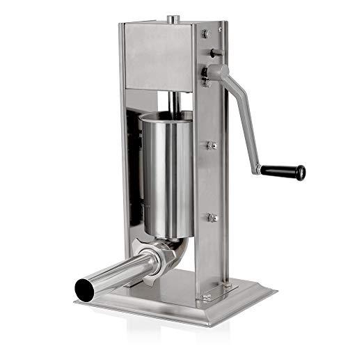 Zelsius Profi Wurstfüllmaschine aus Edelstahl (2 Liter, Silber) + vier verschiedene Füllrohre, Wurstfüller, Wurstpresse, Wurstmaschine mit 2-Gang-Getriebe, Entlüftungsventil und Handkurbel
