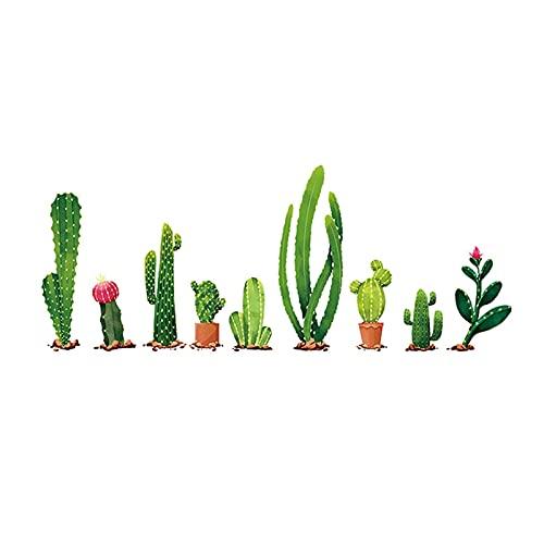 ZZLLFF Etiquetas de Pared Cactus Fresco Cactus Verde Calcomanía Mural Arte Vinilo Calcomanías Decoración for el hogar