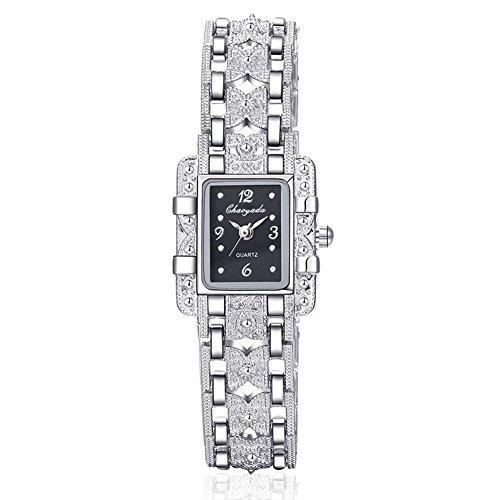 Yazilind Schmuck Klassische Legierung Band eingelegte Rhinestones Quarz Armbanduhr für Frauen Mädchen (schwarz)