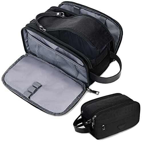 Mens Toiletry Bag Travel Leather Toiletry Organizer Dopp Kit for Men Water-resistant Shaving Bag for Bathroom (Black)