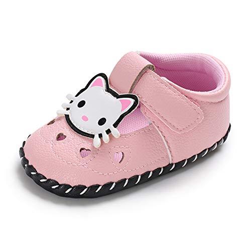 Geagodelia Baby Sandalen Weicher Lauflernschuhe Hausschuhe für Kleinkind Mädchen Junge mit Süß Cartoon Tiere Muster (12-18 Monate, Katze-Pink)