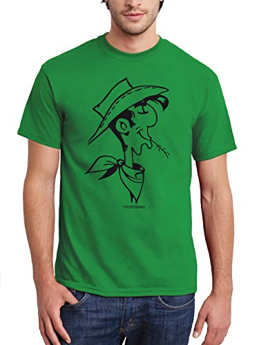 clothinx Herren T-Shirt Lucky Luke – Retrokopf Grün/Schwarz Größe L
