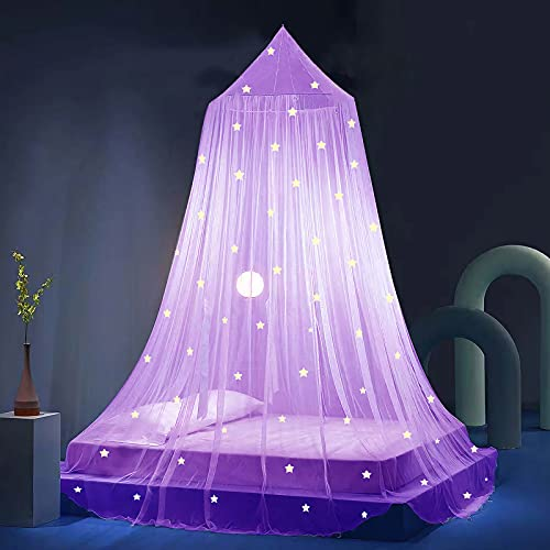 Stars Bed Canopy Glow in The Dark, Eimilaly Bed Canopy for Girls Mosquito Net, Princess Canopy for Girls Bed Room Decor, Purple