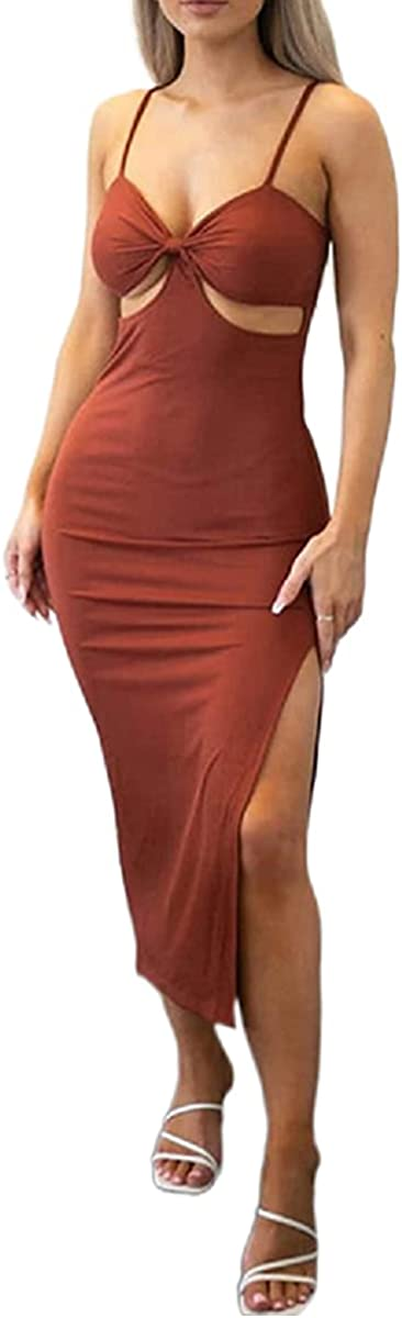 Mieeyali Sexy Bodycon Cutout Maxi Dress for Women Spaghetti Strap Color Block Long Dress Y2k Hollow Out Beach Club Dresses