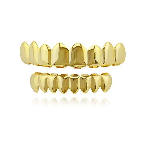 Denti multifunzionali Cappellini Grillz Set, Griglie for Denti Hip-Hop placcate in Oro for Tappi for Denti Stile Vuoto Superiore e Inferiore,Shiny Hip Hop Denti Grillz