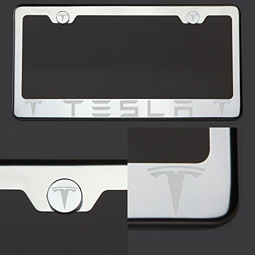 Circle Cool One Fit Tesla - Marco de matrícula de Acero Inoxidable con Logotipo de Acero Inoxidable y Tapa de Rosca cromada
