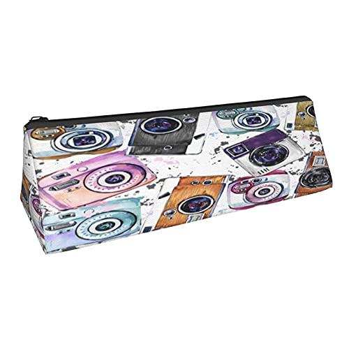 Bolsa de lápiz portátil para cámaras fotográficas de estilo vintage con forma de triángulo para lápices