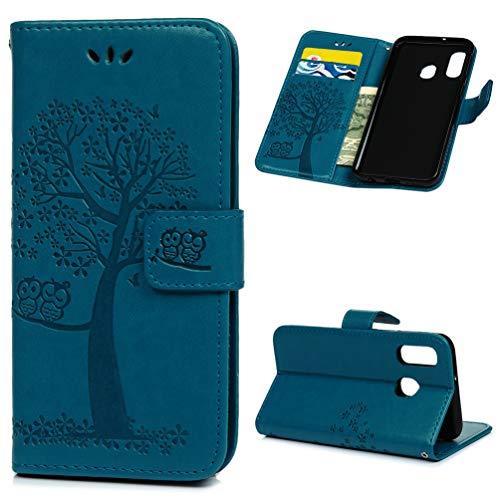 Archi A40 Hülle Eule Case für Samsung Galaxy A40 HandyHülle Leder Flipcase Schutzhülle Brieftasche Flipcover Tasche Ständer Magnetverschluss Kartenfach Handytasche (A40, Blau)