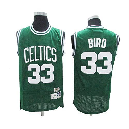 YSA Maglia da Basket Larry Bird # 33 - NBA Boston Celtics, Tessuto Traspirante Fresco Nuovo Top Sportivo in Jersey Ricamato retrò all-Star, Verde, XL: 185 cm / 85~95 kg
