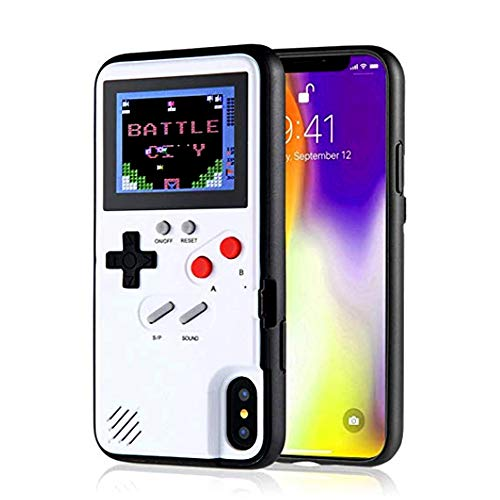 Gameboy Case for iPhone X/XS, Chu9 Retro 3D  Shockproof  Gameboy Cover Case with 36 Classic Games, Handheld Color Screen Playable Video Game Console Case for iPhone (White,iPhone X/XS)