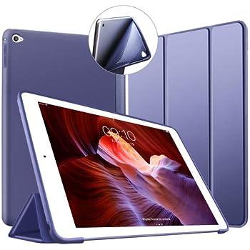 VAGHVEO iPad Air 2 ケース 超薄型 超軽量 TPU ソフトスマートカバー オートスリープ機能 衝撃吸収 三つ折りスタンド for Apple iPad Air 2 9.7インチ - ネービーブルー