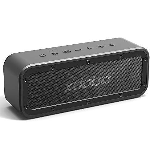 XDOBO 40W Altavoz Bluetooth Portátil 5.0 con Impermeable IPX7 15 Horas de Reproducción TWS Altavoces inalámbricos de doble controlador para exteriores, Fiesta, Viajes, Playa, Senderismo Camping, Negro