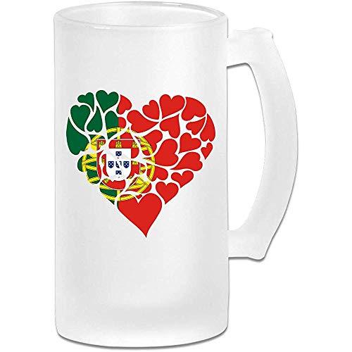 Portugal Vlag hart liefde Frosted glas Stein bier mok, pub mok, drank mok, geschenk voor bier Drinker, 500Ml (16.9Oz)