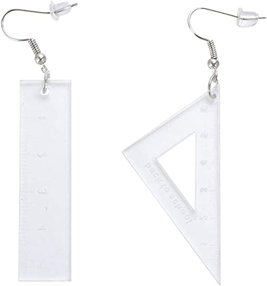 GUOXIAOMEI Asymmetrical Triangle Straight Ruler Earrings Dangle Earrings Neon Drop Earrings Math Teacher Jewelry Gift 80s Party Favors