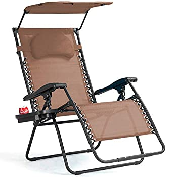 Goplus Folding Zero Gravity Lounge Chair Wide Recliner for Outdoor Beach Patio Pool w/Shade Canopy  Coffee Zero Gravity Chair