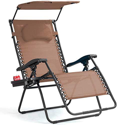 Goplus Folding Zero Gravity Lounge Chair Wide Recliner for Outdoor Beach Patio Pool w/Shade Canopy (Coffee Zero Gravity Chair)