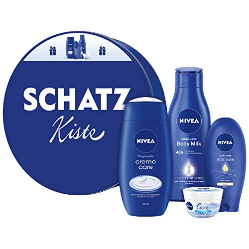 NIVEA Geschenkdose Schatzkiste, Geschenkset für Frauen mit Pflegedusche, Hand Creme, Body Milk & Pflege Creme, pflegendes Beauty Set