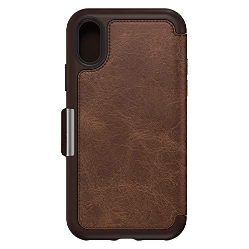 OtterBox Strada Etui - Elegante, sturzsichere Folio Schutzhülle aus echtem Leder für iPhone X/Xs, braun