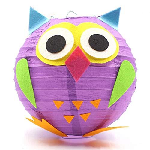 redcolourful DIY Paper Lantern Metariel, LED Cartoon Animals Paper Chinese Lantern DIY Handcrafts for Child Birthday Party Owl