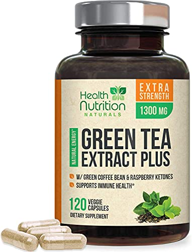 Green Tea Extract 98% Standardized EGCG 1300mg for Natural Energy, Supports Heart Health with Antioxidants, Polyphenols, Gentle Caffeine, Made in USA - 120 Capsules