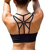 YIANNA Sports Bras for Women Cross Back Padded Sports Bra Medium Support Workout Running Yoga Bra, YA-BRA139-Black-M