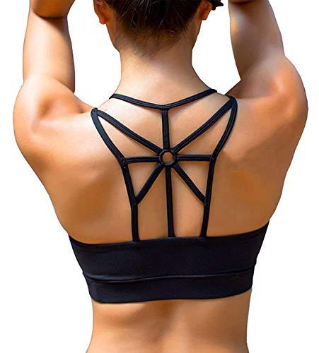 YIANNA Sports Bras for Women Cross Back Padded Sports Bra Medium Support Workout Running Yoga Bra,YA-BRA139-Black-M