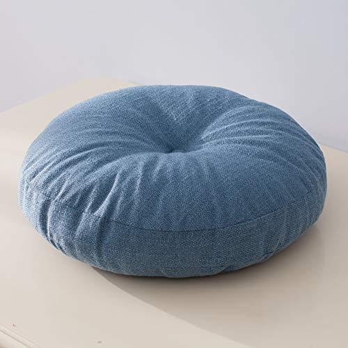 Zxb-shop Cubierta Extraíble con Cremallera Pouf De Piso Color Sólido para Niños Sentados Oficina Casa,Cojín Redondo para Yoga Meditación,COJÍN DE Silla DE Espuma VISCOELÁSTICA-Azul