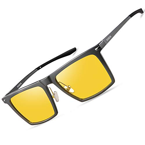 Night Vision Glasses for Men Women - SOXICK Polarized HD Driving Glasses Anti Glare UV400 Adjustable Metal Frame Yellow Lens