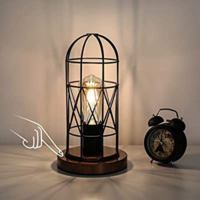 Touch Control Table Lamp, Industrial Bedside Lamp with 3-Way Dimmable Small Nightstand Lamp Vintage Metal Cage Steampunk Table Lamp for Bedroom, Hallway, Entryway, Kitchen or Den Edison Bulb Included