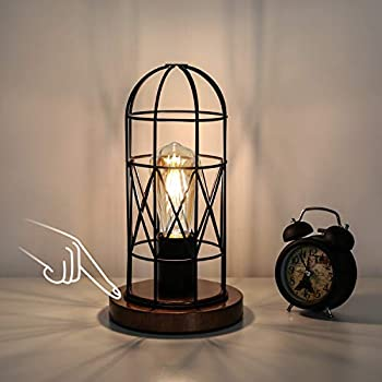 Touch Control Table Lamp Industrial Bedside Lamp with 3-Way Dimmable Small Nightstand Lamp Vintage Metal Cage Steampunk Table Lamp for Bedroom Hallway Entryway Kitchen or Den Edison Bulb Included